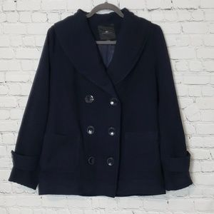 Navy Double Breasted Pea Coat size L
